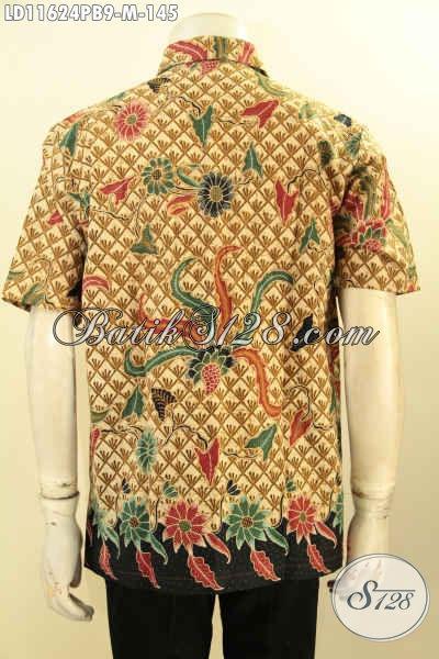 Baju Kemeja Batik Trendy Motif Mewah Elegan Klasik, Busana Hem Batik Solo Proses Printing Cabut Yang Menunjang Penampilan Lebih Istimewa