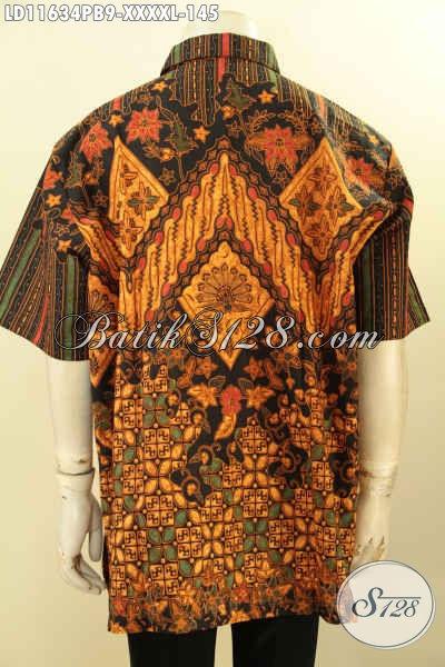 Jual Kemeja Batik Pria Elegan Size XXXXL, Hem Batik Elegan Klasik Dengan Desain Berkelas Model Lengan Pendek Bahan Adem Proses Printing Cabut, Penampilan Gagah Menawan