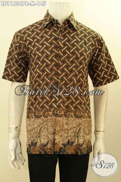 Kemeja Batik Modis Terkini, Pakaian Batik Elegan Ukuran M Spesial Buat Lelaki Muda, Baju Batik Solo Asli Motif Klasik Printing Cabut, Menunjag Penampilan Lebih Berkelas
