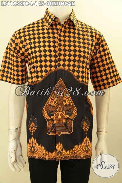 Batik Kemeja Pria Keren Lengan Pendek, Busana Batik Solo Asli Kwalitas Bagus Bahan Adem Proses Printing Cabut Motif Kekinian, Penampilan Lebih Tampan Menawan