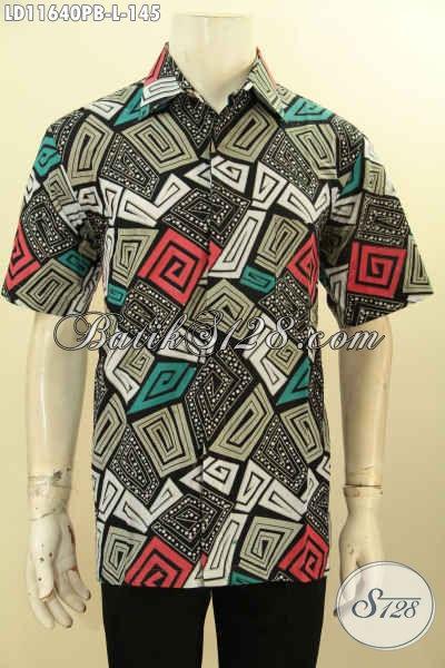 Produk Baju Batik Trendy Pria Model Lengan Pendek, Hem Batik Motif Unik Dengan Kombinasi Warna Keren Desain Bagus Proses Printing Cabut, Cocok Banget Buat Hangout Dan Pesta [LD11640PB-L]