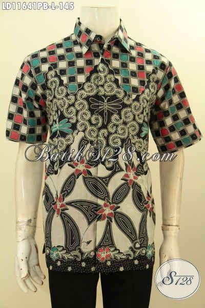 Baju Kemeja Batik Motif Mewah Dengan Paduan Warna Berkelas, Hem Batik Lengan Pendek Solo Jawa Tengah Kwalitas Istimewa Dengan Harga Biasa