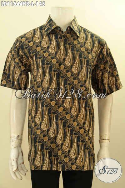 Baju Batik Pria Lengan Pendek Motif Parang, Busana Batik Elegan Proses Printing Cabut Bahan Halus Warna Klasik, Pilihan Tepat Tampil Gagah Dan Istimewa