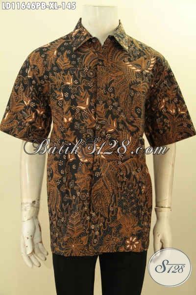 Baju Pria Lengan Pendek Size XL, Pakaian Batik Nan Berkelas Bahan Adem Motif Klasik Printing Cabut, Istimewa Untuk Acara Resmi Dan Modis Buat Ngantor
