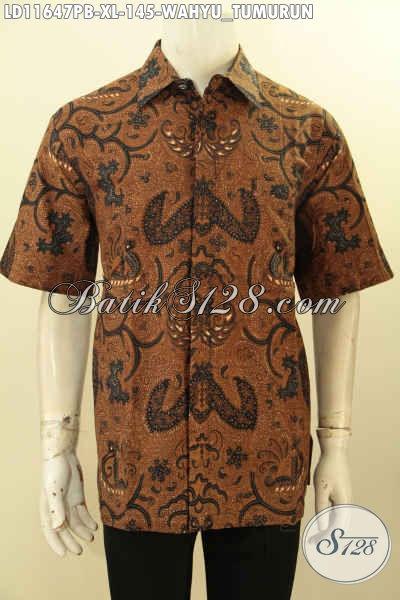 Kemeja Batik Klasik Desain Modern Motif Wahyu Tumurun, Pakaian Batik Buatan Solo Asli Lengan Pendek, Elegan Buat Acara Formal Dan Berkelas Untuk Kerja