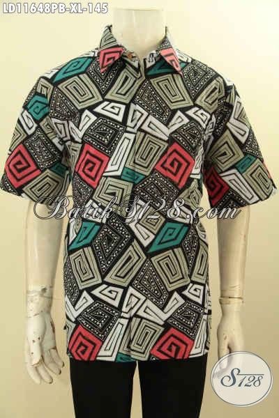Kemeja Batik Keren Untuk Pria Dewasa, Pakaian Batik Motif Tren Masa Kini Proses Printing Cabut Model Lengan Pendek, Bikin Penampilan Gagah Dan Gaul