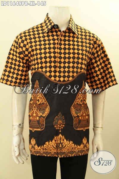 Kemeja Batik Elegan Motif Gunungan, Baju Batik Halus Warna Klasik Proses Printing Cabut Asli Solo, Bisa Untuk Kerja Maupun Ke Kondangan
