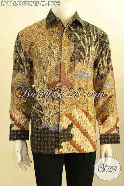 Baju Batik Super Premium Khas Jawa Tengah, Hadir Dengan Bahan Sutra Twis Motif Klask Proses Tulis Asli Model Lengan Panjang Full Furing, Spesial Buat Eksekutif Dan Pejabat