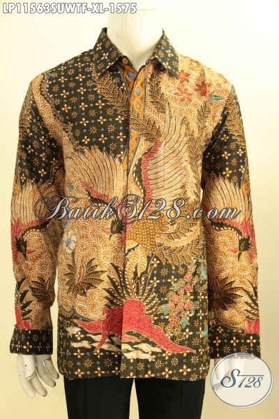 Baju Batik Sutra Nan Mewah Motif Elegan Klasik Tulis Asli, Pakaian Batik Premium Yang Membuat Penampilan Keren Dan Percaya Diri, Model Lengan Panjang Dengan Lapisan Furing Size XL