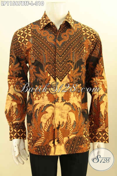 Baju Batik Acara Resmi, Kemeja Batik Elegan Untuk Rapat, Busana Batik Istimewa Lengan Panjang Pakai Furing Motif Klasik Kombinasi Tulis, Penampilan Terlihat Berwibawa