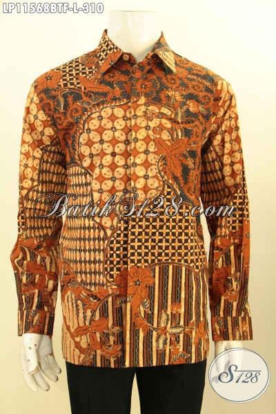 Busana Batik Pria Lengan Panjang Mewah Dengan Harga Terjangkau, Baju Batik Solo Asli Di Lengkapi Furing Motif Klasik Bahan Adem Nyaman Di Pakai, Penampilan Lebih Gagah Mempesona
