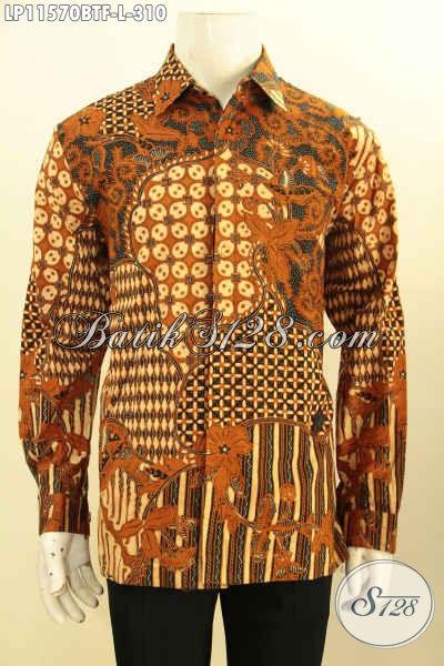 Koleksi Busana Batik Pria Terkini, Baju Batik Solo Asli Model Lengan Panjang Full Furing, Pakaian Batik Elegan Motif Klasik Kombinasi Tulis, Menujang Penampilan Lebih Berkelas