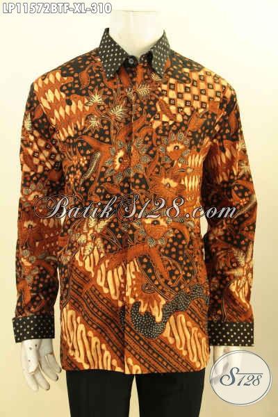 Jual Online Kemeja Batik Pria Size XL, Hadir Dengan Model Lengan Panjang Full Furing Berpadu Motif Elegan Klasik Nan Berkelas Proses Kombinasi Tulis, Bikin Penampilan Lebih Gagah Berwibawa