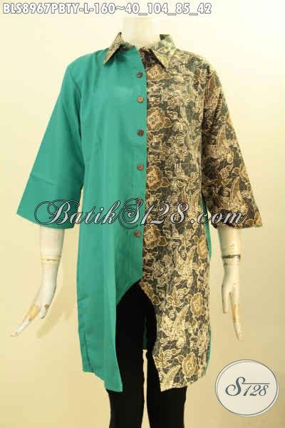 Blouse Batik Wanita Terbaru, Hadir Dengan Kombinasi Kain Polos Toyobo Desain Trendy Kwalitas Istimewa Lengan 3/4, Tampil Cantik Menawan
