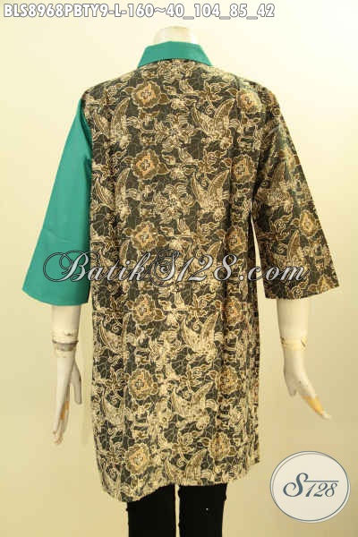 Model Busana Batik Wanita Modern Lengan 3/4, Pakaian Batik Kerja Wanita Karir Paduan Kain Polos Toyobo Untuk Penampilan Terlihat Beda Dan Gaya