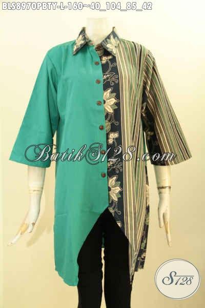 Koleksi Terkini Pakaian Batik Blouse Solo Jawa Tengah Terbaru, Baju Wanita Nan Trendy Kombinasi Batik Dam Kain Polos Toyobo Lengan 3/4 Desain Bagus Bikin Penampilan Lebih Sempurna
