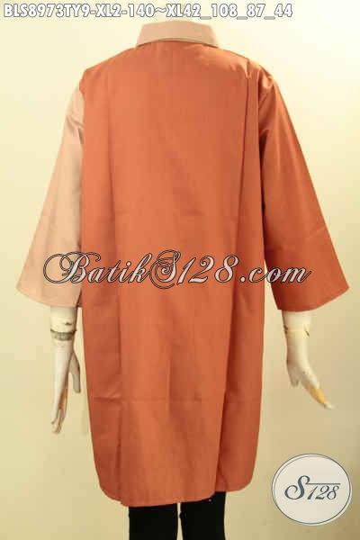 Baju Atasan Wanita Modern, Blouse Trendy Nan Istimewa Lengan 3/4 Bahan Adem Kain Toyobo Dengan Kombinasi Warna Nan Keren, Bikin Penampilan Terlihat Anggun Menawan [BLS8973TY-XL]