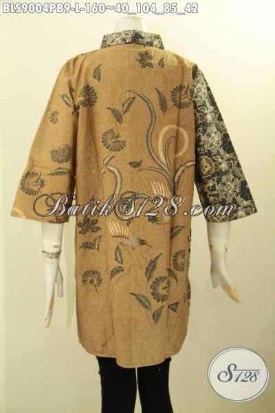 Busana Batik Blouse Istimewa Dengan Kombinasi 2 Warna Dan 2 Motif Model Lengan 3/4 Proses Printing Cabut, Cocok Banget Untuk Kerja Dan Acara Resmi Tampil Elegan [BLS9004PB-L]