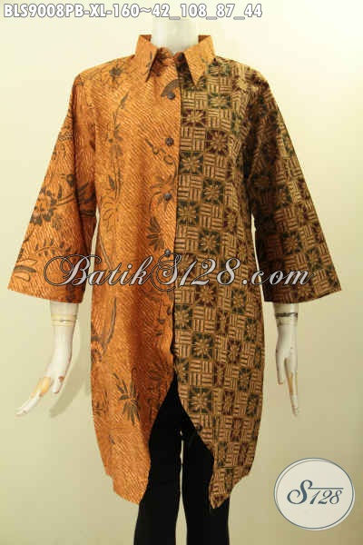 Jual Baju Batik Blouse Modis Kekinian, Pakaian Batik Wanita Dewasa Size XL Model Terbaru Lengan 3/4 Dengan Kombinasi 2 Motif Dan 2 Warna Nan Berkelas, Cocok Untuk Acara Resmi Dan Santai