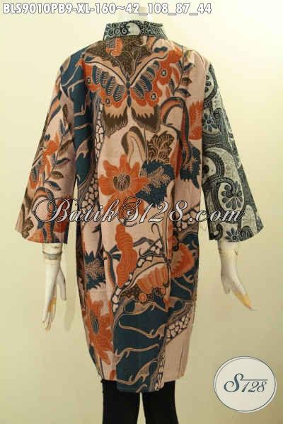 Baju Batik Blouse Modern Lengan 3/4 Desain Keren Dan Mewah, Pakaian Batik Istimewa Wanita Dewasa Proses Printing Cabut Paduan 2 Warna Dan 2 Motif, Elegan Untuk Acara Resmi