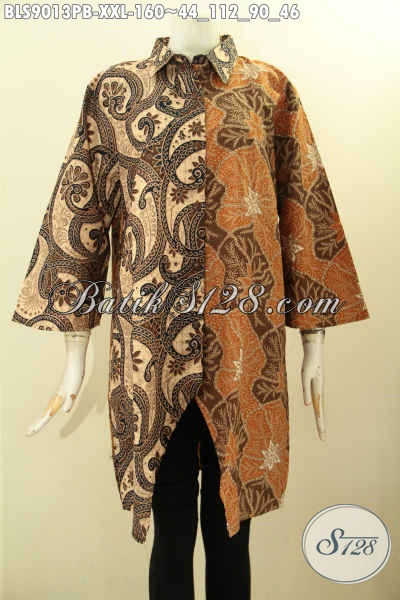 Jual Baju Batik Wanita Gemuk, Busana Batik Modern Terkini Lengan 3/4 Dengan Kombinasi 2 Motif Dan 2 Warna Kwalitas Istimewa Proses Printing Cabut Harga 160K
