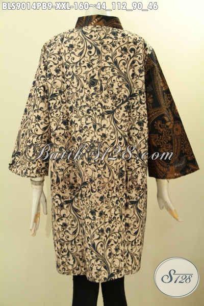Busana Batik Wanita Gemuk Nan Elegan Dengan Paduan 2 Motif Klasik Nan Berkelas, Blouse Batik Lengan 3/4 Kombinasi 2 Warna Proses Printing Cabut, Penampilan Lebih Istimewa