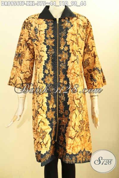 Baju Batik Dress Premium Nan Istimewa Lengan 3/4 Dengan Resleting Depan Pakai Kerah Daleman Full Tricot, Pas Banget Untuk Kerja Kantoran Tampil Lebih Menawan [DR8956TF-XXL]