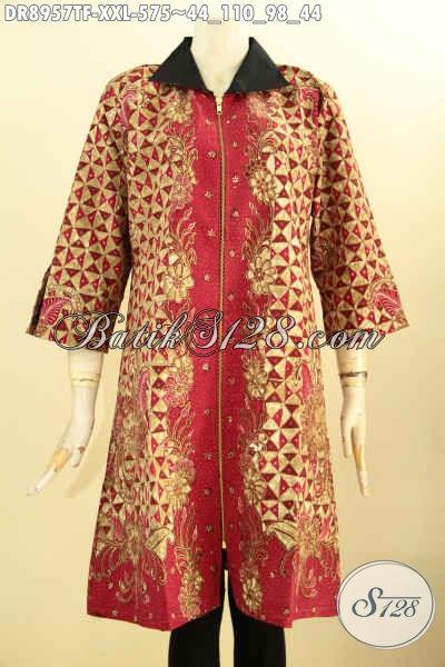 Busana Batik Dress Mewah Khas Jawa Tengah, Pakaian Batik Premium Lengan 3/4 Pakai Kerah Di Lengkapi Resleting Depan, Motif Bagus Proses Tulis Harga 500 Ribuan Saja