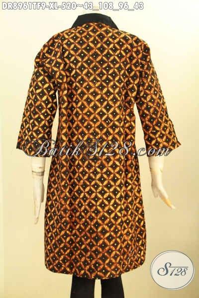 Batik Dress Modern Desain Kerah Lengan 7/8, Pakaian Batik Premium Motif Klasik Tulis Asli Di Lengkapi Resleting Depan, Menunjang Penampilan Lebih Menawan