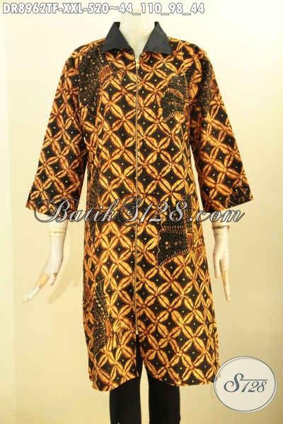 Jual Online Batik Dress Elegan Mewah Tulis Asli, Pakaian Batik Modern Motif Elegan Klasik Desain Mewah Dengan Kerah Dan Resleting Depan, Pas Untuk Acara Formal