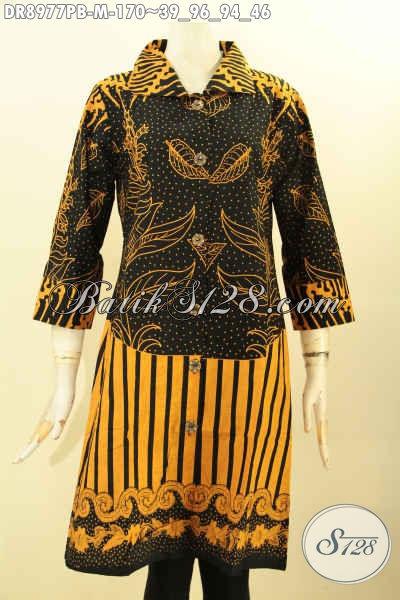 Model Pakaian Batik Wanita Terbaru, Dress Batik Modis Desain Kerah Lengan 7/8 Dan Kancing Depan Motif Elegan, Cocok Untuk Seragam Kerja Wanita Karir