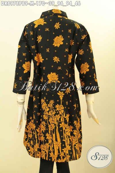 Busana Batik Dress Modis Trendy Motif Elegan, Pakaian Batik Khas Jawa Tengah Nan Istimewa Model Lengan 7/8 Pakai Kerah Dan Kancing Depan, Menunjang Penampilan Lebih Cantik Menawan