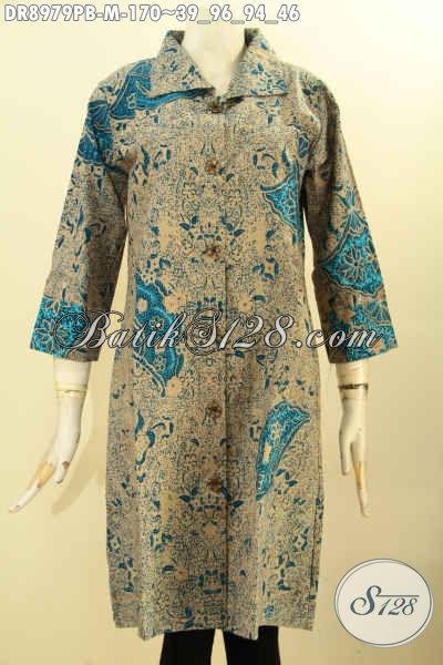 Dress Batik Elegan Motif Mewah Desain Terbaik Saat Ini, Busana Batik Kancing Depan Lengan 7/8 Pakai Kerah, Istimewa Untuk Acara Formal Dan Berkelas