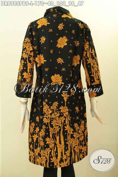 Produk Busana Batik Wanita Tren Model 2019, Pakaian Batik Halus Motif Bagus Warna Elegan Klasik Proses Printing Cabut, Bahan Adem Model Lengan 7/8 Berkerah Dan Kancing Depan Hanya 170K