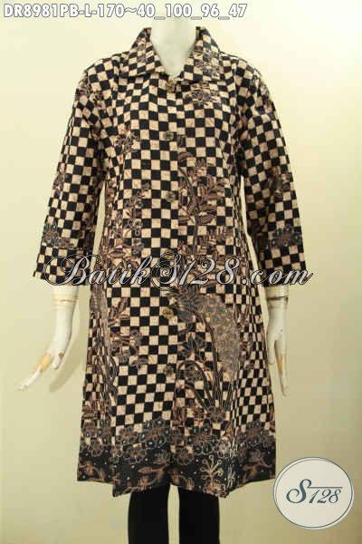 Baju Dress Batik Elegan Motif Bagus Desain Mewah Dengan Kerah Lengan 7/8 Pakai Kancing Depan, Tampil Anggun Mempesona
