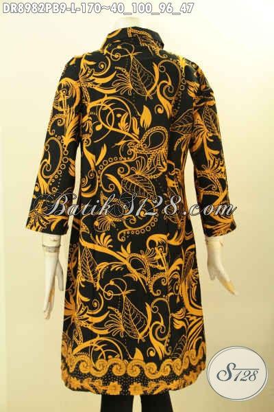 Baju Batik Kerja Wanita Trendy Motif Terbaru, Dress Batik Modis Lengan 7/8 Pakai Kerah Dan Kancing Depan Yang Membuat Penampilan Lebih Modis Cantik Menawan [DR8982PB-L]
