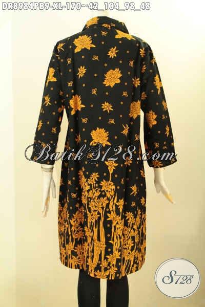Dress Batik Wanita Dewasa Nan Berkelas, Baju Batik Limied Edition Desain Mewah Lengan 7/8 Kancing Depan Dan Pakai Kerah, Bahan Halus Motif Bagus Hanya 170K