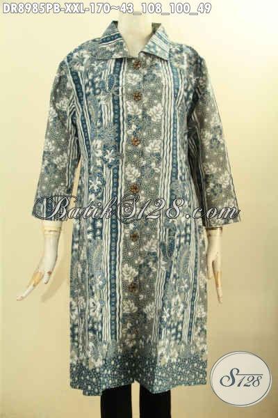 Dress Batik Jumbo Wanita Gemuk, Produk Busana Batik Istimewa Model Lengan 7/8 Dengan Kerah Dan Kancing Depan Motif Kekinian Proses Printing Cabut Hanya 100 Ribuan Saja, Pas Untuk Acara Resmi [DR8985PB-XXL]