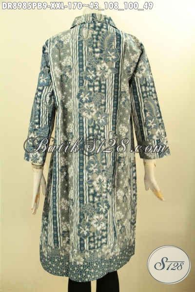 Baju Batik Wanita Gemuk, Pakaian Batik Dress Nan Istimewa Lengan 7/8 Bahan Adem Motif Mewah Printing Cabut, Pakaian Batik Solo Desain Kerah Pakai Kancing Depan, Penampilan Lebih Menawan