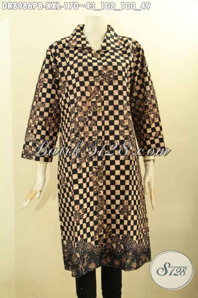 Dress Batik Jumbo Wanita Gemuk Kwalitas Istimewa, Busana Batik Elegan Model Kerah Lengan 7/8 Di Lengkapi Kancing Depan, Penampilan Lebih Menawan