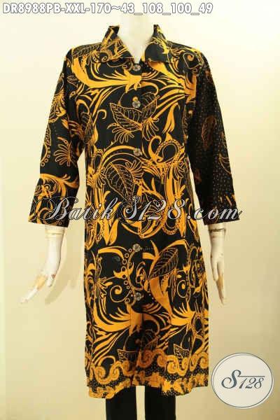 Busana Batik Dress Solo Lengan 7/8, Baju Batik Dress Jumbo Nan Istimewa Model Kerah Dengan Kancing Depan Berpadu Motif Modern Nan Istimewa Proses Printing Cabut, Bikin Penampilan Anggun Dan Cantik [DR8988PB-XXL]