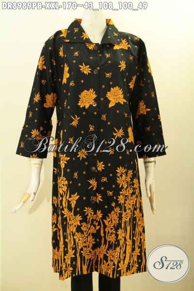 Dress Batik Istimewa Lengan 7/8 Desain Mewah Dengan Kerah Dan Kancing Depan, Pakaian Batik Modern Edisit Terbatas Spesial Untuk Wanita Gemuk, Pas Banget Untuk Acara Santai Ataupun Formal