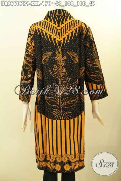 Pusat Baju Batik Wanita Tren Masa Kini, Busana Batik Big Size Lengan 7/8 Desain Kerah Dan Kancing Depan Berpadu Motif Terbaru Proses Printing Cabut, Bisa Untuk Kerja Dan Acara Resmi [DR8990PB-XXL]