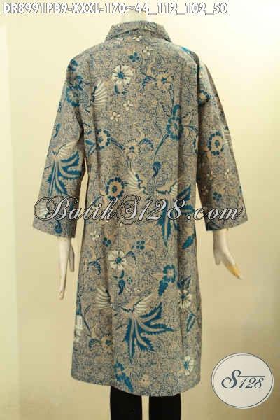 Koleksi Busana Batik Wanita Gemuk Sekali, Pakaian Batik Dress Elegan Motif Bagus Printing Cabut Desain Lengan 7/8 Kancing Depan Dan Berkelas, Istimewa Buat Acara Resmi Tampil Berkelas