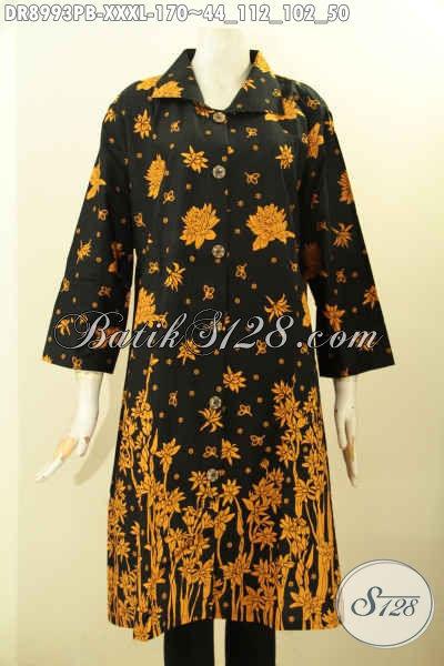 Busana Batik Dress Solo Spesial Untuk Wanita Gemuk Sekali, Pakaian Batik Modern Desain Trendy Motif Elegan Proses Printing Cabut, Istimewa Untuk Acara Formal Maupun Santai [DR8993PB-XXXL]