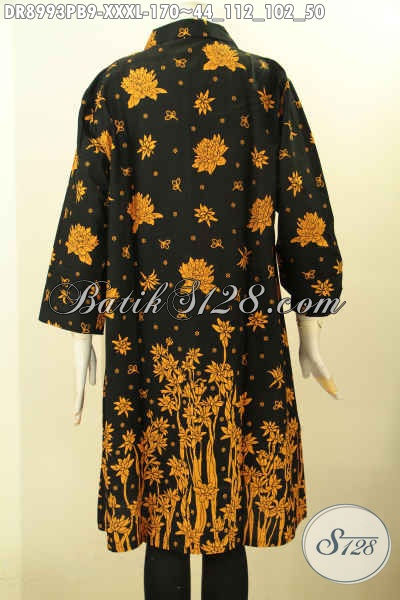 Jual Online Baju Batik Solo Istimewa, Pakaian Batik Modern Lengan 7/8 Super Big Size Untuk Wania Gemuk Sekali, Busana Batik Istimewa Berkerah Pakai Kancing Depan Motif Terbaru, Penampilan Anggun Menawan