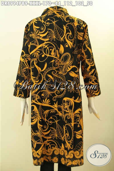 Pusat Baju Batik Solo Online, Jual Dress Kerah Lengan 7/8 Kancing Depan Bahan Halus Motif Bagus Untuk Kerja Dan Acara Resmi Proses Printing Cabut, Spesial Buat Wanita Gemuk Karir Aktif [DR8994PB-XXXL]