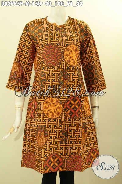 Batik Dress Lengan 3/4 Desain Tanpa Kerah, Busana Batik Wanita Muda Modern Yang Di Lengkapi Kancing Depan, Bikin Penampilan Cantik Menawan [DR8995P-M]