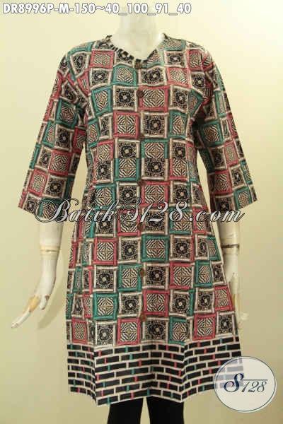 Busana Batik Solo Trend Kekinian, Dress Batik Lengan 3/4 Motif Unik Dan Berkelas Proses Printing Pakai Kerah Dan Kancing Depan, Istimewa Untuk Kerja Ataupun Acara Resmi