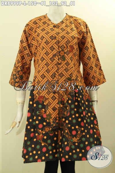 Batik Dress Solo Jawa Tengah Lengan 3/4, Busana Batik Modern Motif Elegan Proses Printing, Baju Batik Kerja Wanita Karir Yang Membuat Penampilan Cantik Mempesona